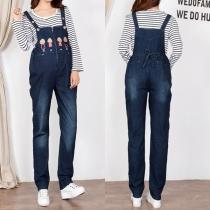 Lässige Latzhose aus Jeansstoff für Schwangere Frauen mit Hoher Taille und Niedlichem Cartoon-Motiv