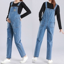 Lässige Latzhose aus Jeansstoff für Schwangere Frauen mit Hoher Taille und Lockerer Passform