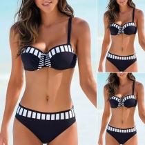 Sexy Push-up-Bikini-Set mit Niedriger Taille und Kontrastierenden Farben