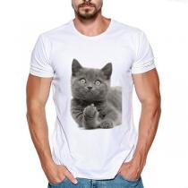 T-Shirt für Herren mit Kurzen Ärmeln Rundhalsausschnitt  und Niedlichem Katzenmotiv