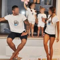Niedliches T-Shirt für Eltern und Kinder mit Cartoonmotiv Kurzen Ärmeln und Rundhalsausschnitt