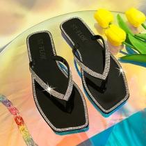 Moderne Slippers mit Strass Quadratischen Spitzen und Transparenten Sohlen