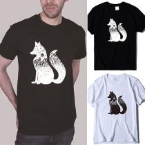 Lässiges T-Shirt für Herren mit Fuchsmotiv Kurzen Ärmeln und Rundhalsausschnitt