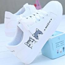 Lässige Weiße Schuhe mit Flachen Absätzen  Runden Zehen Schnürsenkeln und Katzenmotiv