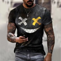 Nettes T-Shirt für Herren mit Grinsmotiv Kurzen Ärmeln und Rundhalsausschnitt