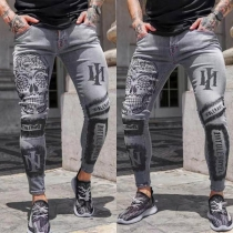 Lässige Hose für Herren mit Mittlerer Taille Schlanker Passform und Schickem Muster