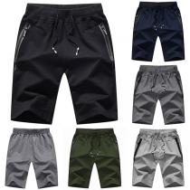 Lässige Knielange Sportshorts für Herren mit Elastischer Taille und Taschen mit Reißverschluss
