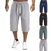 Lässiges Lockere Hose mit Elastischer Taille und Volltonfarbe