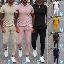 Modernes Zweiteiliges Set für Herren in Volltonfarbe bestehend aus einem T-Shirt mit Kurzen Ärmeln und Polo-Kragen + Hose