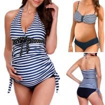 Sexy Gestreiftes Bikini-Set für Schwangere Frauen mit Freiem Rücken V-Ausschnitt und Halsträger