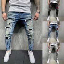Lässige Jeans für Herren mit Mittlerer Taille Karierten Akzenten und Rissen