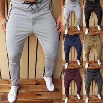 Lässige Freizeithose für Herren mit Elastischer Taille mit Tunnelzug Wauist und Taschen mit Reißverschluss