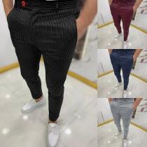 Lässige Hose für Herren mit Streifen und Hoher Taille
