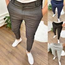 Modische Hose für Herren mit Hoher Taille Volltonfarbe und Schlanker Passform