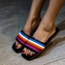 Einfache Bunte Slipper mit Flachen Sohlen und Freien Zehen