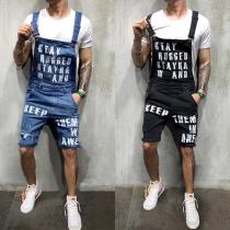 Lässiges Kurze Latzhose aus Jeansstoff für Herren mit Textaufdruck und Hoher Taille