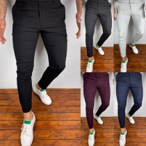Einfacher Freizeithose für Herren mit Mittlerer Taille und Volltonfarbe
