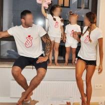 Lässiges Eltern-Kind-T-Shirt mit Kurzen Ärmeln Rundhalsausschnitt und Gesten-Motiv