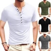 Einfaches T-Shirt für Herren mit Kurzen Ärmeln V-Ausschnitt und Volltonfarbe