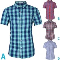 Modernes Kariertes Hemd für Herren mit Kurzen Ärmeln Polo-Kragen und Einreihigem Design