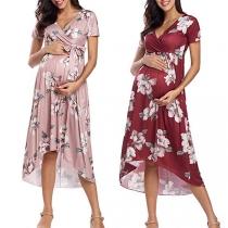 Sexy Umstandskleid mit V-Ausschnitt Kurzen Ärmeln Hoher Taille Unregelmäßigem Saum Schickem Muster und Hüftband