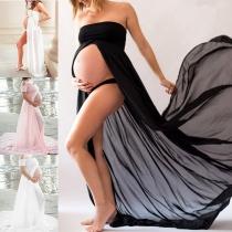 Sexy Chiffon-Umstandskleid mit Freien SchulternVolltonfarbe und Schlitz
