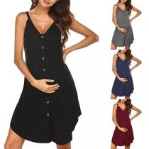Modische Kleid mit Trägern Einreihigem Design V-Ausschnitt und Volltonfarbe