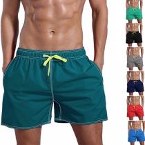 Lässige Strandshorts für Herren mit Elastischer Taille mit Tunnelzug und Volltonfarbe