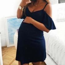 Sexy Kleid mit Freien Schultern Volltonfarbe Trägern V-Ausschnitt und Lotusärmeln