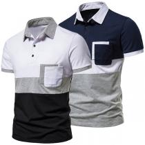 Modisches T-Shirt für Herren mit Kurzen Ärmeln Kontrastierenden Farben und Polo-Kragen