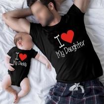 Lässiges T-Shirt für Eltern und Kinder mit Textaufdruck Kurzen Ärmeln und Rundhalsausschnitt