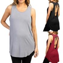 Sexy Ärmelloses Tanktop für Schwangere Frauen mit Freiem Rücken Rundhalsausschnitt und Volltonfarbe