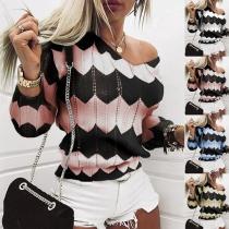 Modischer Pullover in Kontrastierenden Farben mit Langen Ärmeln und V-Ausschnitt