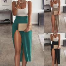 Sexy Partykleid mit Freiem Rücken U-Ausschnitt Hoher Taille Schlitz und Kontrastierenden Farben