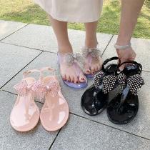 Nettes Slippers mit Strass Schleife und Flachen Sohlen