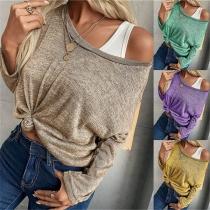 Einfaches Lockeres Sweatshirt mit Llangen Ärmeln Rundhalsausschnitt und Volltonfarbe