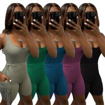 Sexy Ärmelloser Body mit Freiem Rücken Volltonfarbe Schlanker Passform und Hüftband