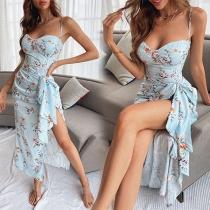 Sexy Backless Irregular Slit Hem Slim Fit Sling Printed Dress