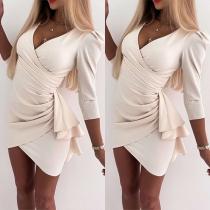 Sexy V-neck Half Sleeve Irregular Hem Wrinkled Ruffle Dress