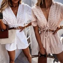 Sexy V-neck Short Sleeve Drawstring Hem Lace Top + High Waist Shorts Two-piece Set