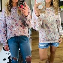 Casual Style Long Sleeve Round Neck Printed Sweatshirt