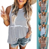 Casual Style Lace-trim Sleeveless Round Neck Striped/Leopard Tank Top
