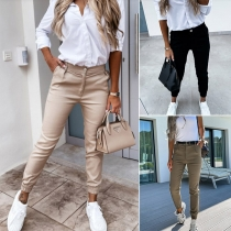 Fashion Solid Color High Waist Slim Fit Pants