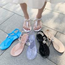 Einfache Sandalen mit Flachen Absätzen und Strass