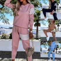 Lässiger Sportanzug bestehend aus einem Sweatshirt mit Langen Ärmeln und Rundhalsausschnitt + Hose