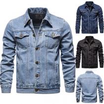 Moderne Jeansjacke für Herren mit Langen Ärmeln Polo-Kragen und Einreihigem Design