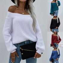 Sexy Pullover mit Freien Schultern Langen Ärmeln und Volltonfarbe