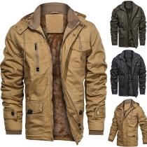 Moderne Jacke für Herren in Volltonfarbe mit Langen Ärmeln Stehkragen Plüschfutter und Kapuze