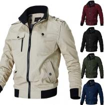 Moderne Jacke für Herren in Kontrastierenden Farben mit Langen Ärmeln und Stehkragen