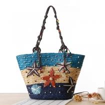 Handgemachte Gewebte Tasche im Böhmischen Stil mit Seestern-Stickerei und Perlen